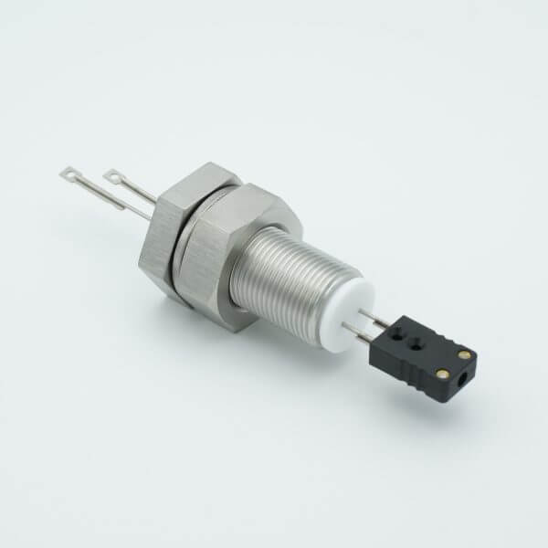 """Thermocouple Feedthrough, Type J, 1 Pair, Miniature Connector, 1.0"""" Baseplate Bolt"""