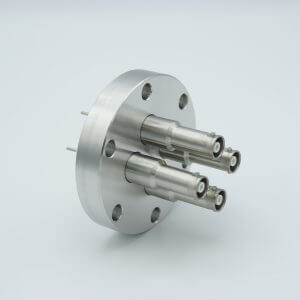 "MPF - A1601-5-CF SHV-10 Coaxial Feedthrough, 4 Pins, Grounded Shield, Exposed Insulator, 2.75"" Conflat Flange"