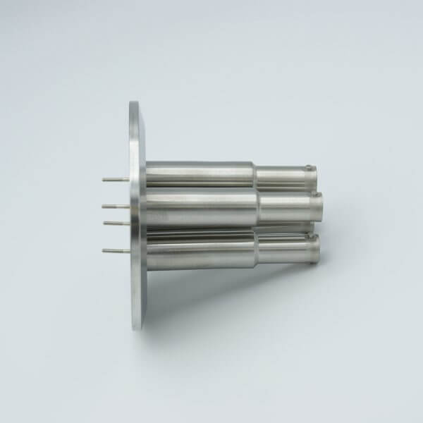 """MPF - A1602-5-QF SHV-10 Coaxial Feedthrough, 4 Pins, Grounded Shield, 2.95"""" QF / KF Flange"""