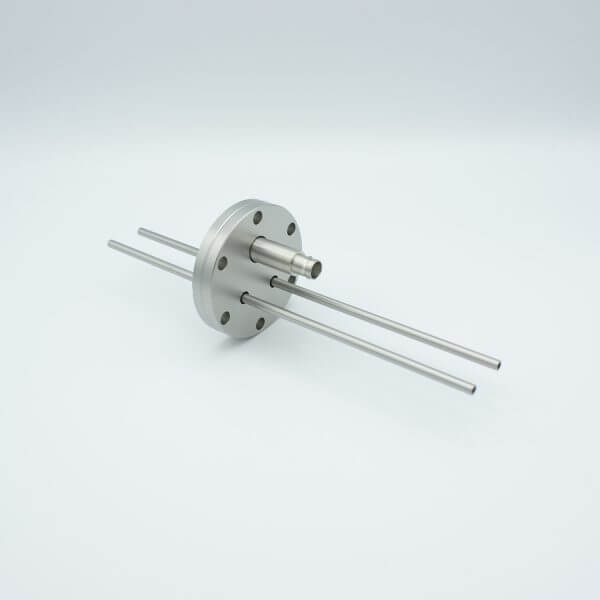 """MPF - A2728-4-CF BNC-Microdot Crystal Sensor Feedthrough, 1 Pin + 2 Stainless Steel Tubes, 2.75"""" Conflat Flange, Without Air-side Connector"""