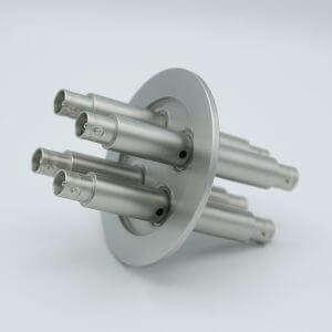 "MPF - A7111-1-QF BNC Coaxial Feedthrough, 4 Pins, Grounded Shield, Double-Ended, 2.95"" QF / KF Flange"